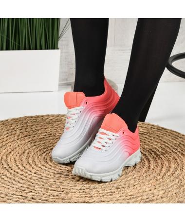 Pantofi Sport De Dama Umbren Gri Cu Rosu - Trendmall.ro