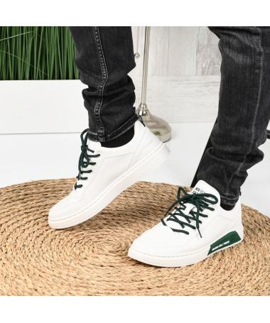 Pantofi Sport De Barbati Deniz Alb Cu Verde - Trendmall.ro