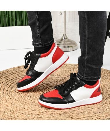 Pantofi Sport De Barbati Sort Alb Cu Rosu - Trendmall.ro