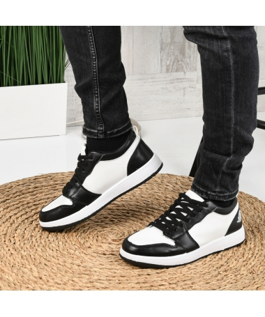 Pantofi Sport De Barbati Sort Alb Cu Negru - Trendmall.ro