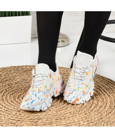 Pantofi Sport De Dama Leson Alb Cu Rosu - Trendmall.ro