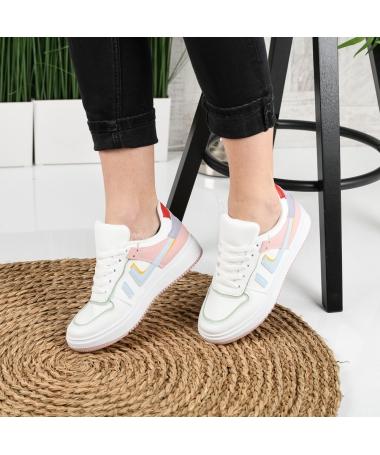 Pantofi Sport De Dama Ignate Alb Cu Galben - Trendmall.ro