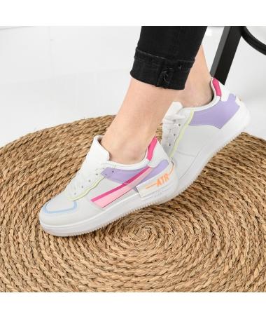 Pantofi Sport De Dama Atar Alb Cu Mov - Trendmall.ro