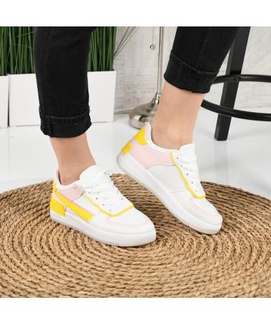 Pantofi Sport De Dama Atar Galben Cu Roz - Trendmall.ro