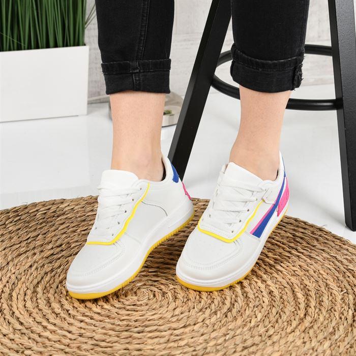 Pantofi Sport De Dama Atar Alb Cu Albastru - Trendmall.ro