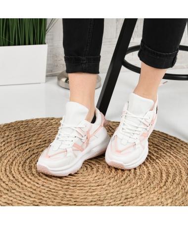 Pantofi Sport De Dama Elastici Alb Cu Roz - Trendmall.ro