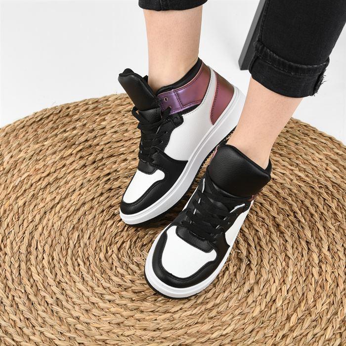Pantofi Sport De Dama Janen Alb Cu Negru - Trendmall.ro