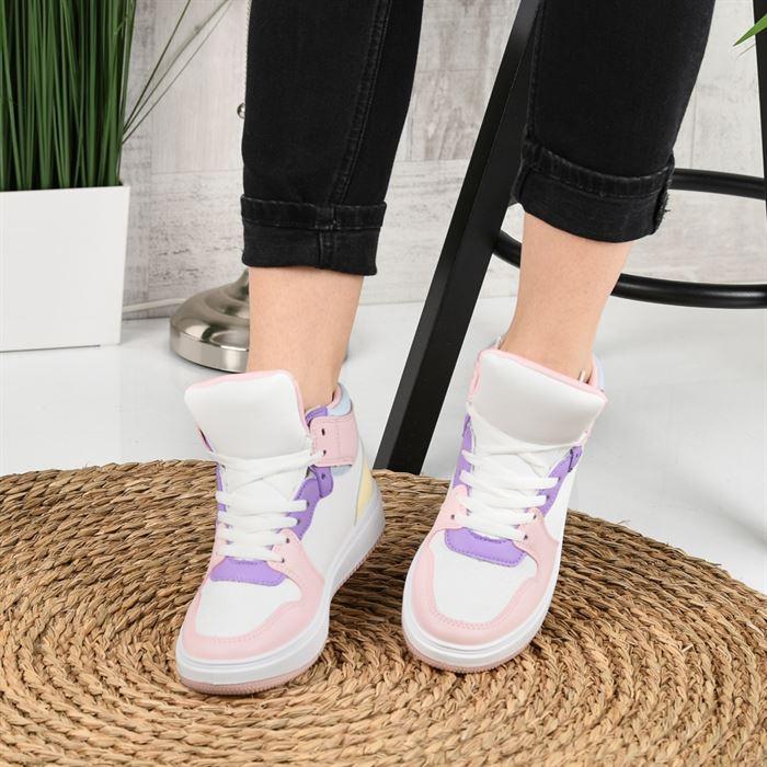 Pantofi Sport De Dama Janen Alb Cu Roz - Trendmall.ro