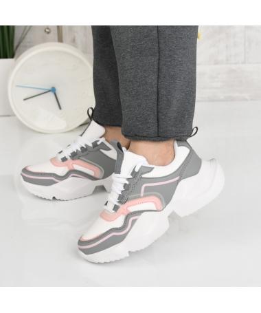 Pantofi Sport De Dama Ineris Gri Cu Roz - Trendmall.ro