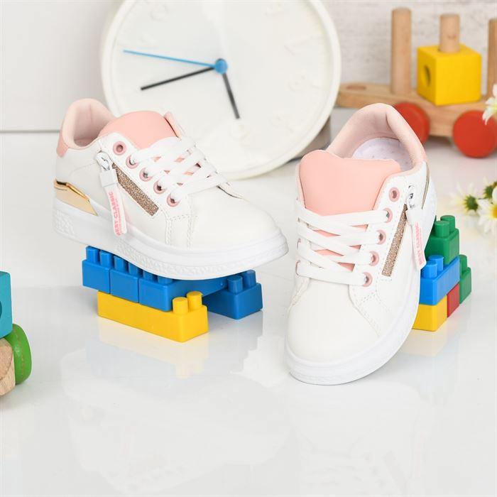 Pantofi Sport De Copii Clasicani Alb Cu Roz - Trendmall.ro