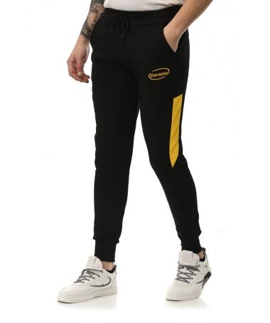 Pantaloni Sport De Barbati Derams Negru Cu Galben - Trendmall.ro
