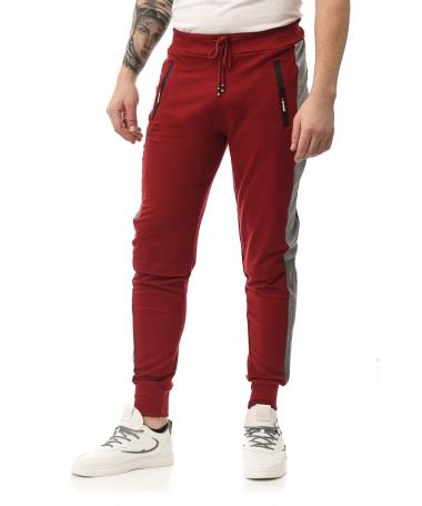 Pantaloni Sport De Barbati Apero Rosu Cu Gri - Trendmall.ro