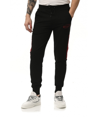 Pantaloni Sport De Barbati Derams Negru Cu Rosu - Trendmall.ro