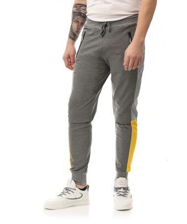 Pantaloni Sport De Barbati Apero Gri Cu Galben - Trendmall.ro