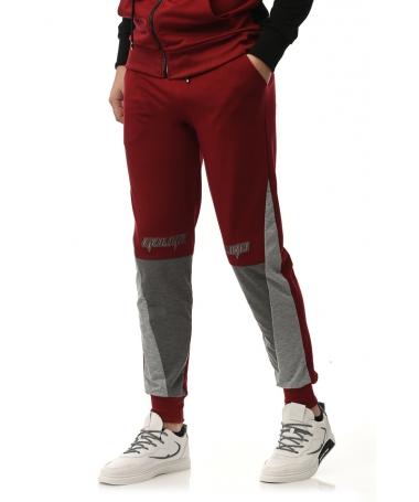 Pantaloni Sport De Barbati Gulian Rosu Cu Gri - Trendmall.ro