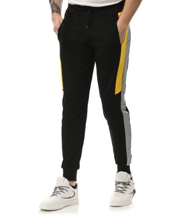 Pantaloni Sport De Barbati Edon Negru Cu Galben - Trendmall.ro