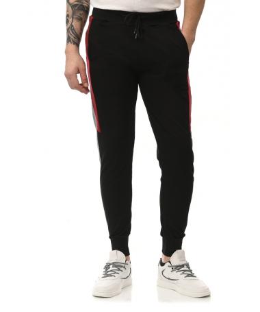 Pantaloni Sport De Barbati Edon Negru Cu Rosu - Trendmall.ro