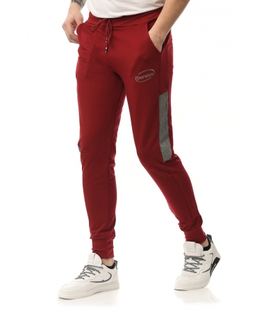 Pantaloni Sport De Barbati Derams Rosu Cu Gri - Trendmall.ro