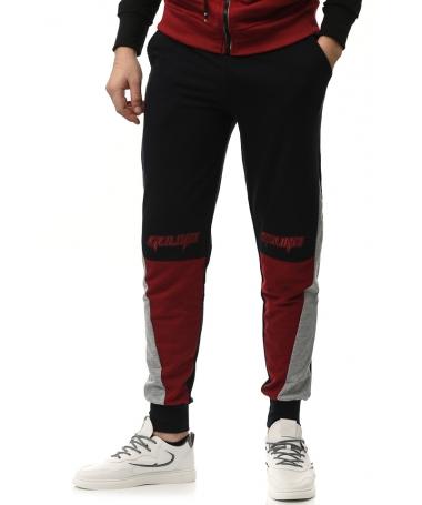 Pantaloni Sport De Barbati Gulian Negru Cu Rosu - Trendmall.ro