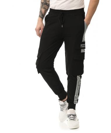 Pantaloni Sport De Barbati Superster Negru Cu Gri - Trendmall.ro