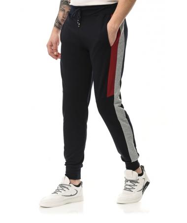 Pantaloni Sport De Barbati Edon Albastru Cu Rosu - Trendmall.ro