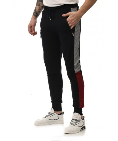 Pantaloni Sport De Barbati Apero Negru Cu Rosu - Trendmall.ro