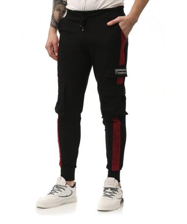 Pantaloni Sport De Barbati Superster Negru Cu Rosu - Trendmall.ro