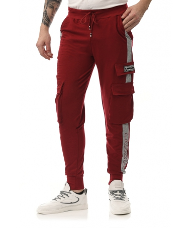 Pantaloni Sport De Barbati Superster Rosu Cu Gri - Trendmall.ro