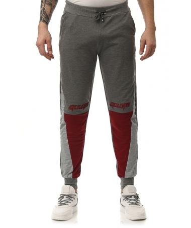 Pantaloni Sport De Barbati Gulian Gri Cu Rosu - Trendmall.ro