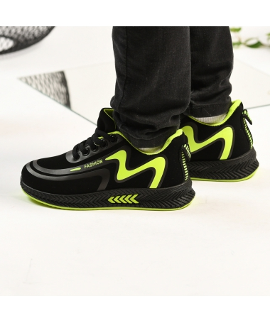Pantofi Sport De Copii Mini Mari Negru Cu Verde - Trendmall.ro