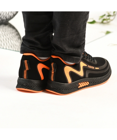 Pantofi Sport De Copii Mini Mari Negru Cu Portocaliu - Trendmall.ro