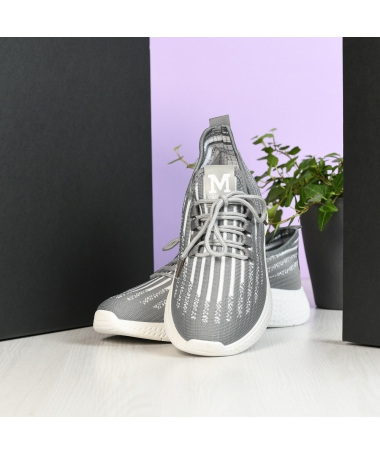 Pantofi Sport De Barbati Zebra Gri Cu Alb - Trendmall.ro