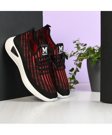 Pantofi Sport De Barbati Zebra Negru Cu Rosu - Trendmall.ro