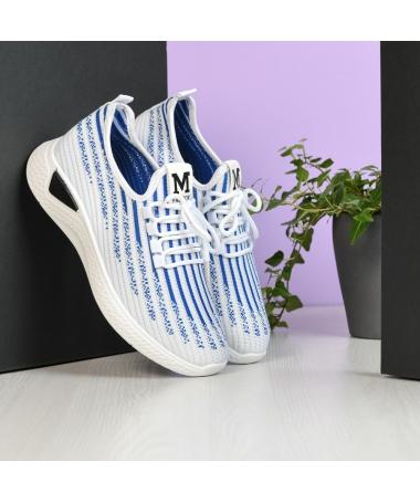 Pantofi Sport De Barbati Zebra Alb cu Albastru - Trendmall.ro