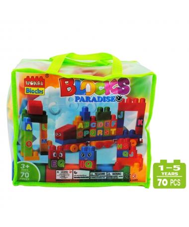 Cuburi De Construit Pentru Copii - 70 de Piese - Litere - Trendmall.ro