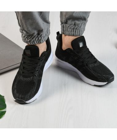 Pantofi Sport De Barbati Gino Negru Cu Alb - Trendmall.ro
