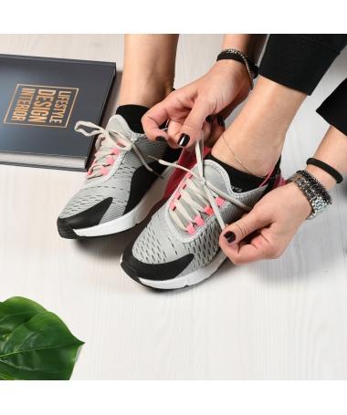 Pantofi Sport De Dama Pops Gri Cu Rosu - Trendmall.ro