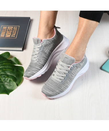 Pantofi Sport De Dama Giuli Gri Cu Roz - Trendmall.ro