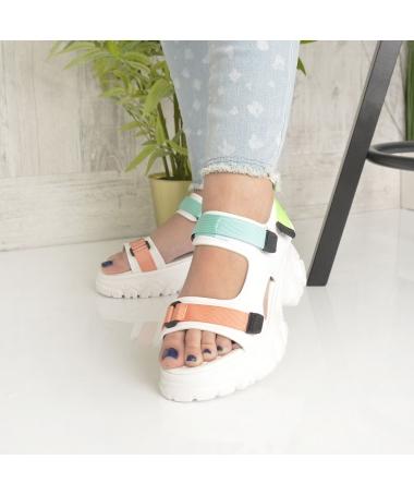 Sandale Cu Platforma De Dama Jamila Albe - Trendmall.ro