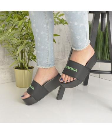 Papuci De Dama Balen Negru Cu Verde - Trendmall.ro