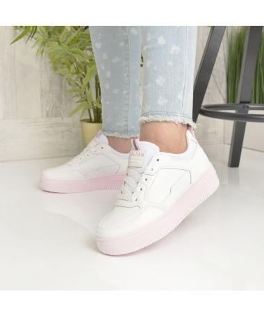 Pantofi Sport De Dama Nosfe Albi Cu Roz - Trendmall.ro