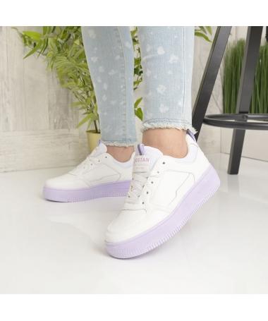 Pantofi Sport De Dama Nosfe Albi Cu Mov - Trendmall.ro