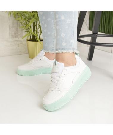 Pantofi Sport De Dama Nosfe Albi Cu Verde - Trendmall.ro