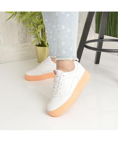 Pantofi Sport De Dama Nosfe Albi Cu Portocaliu - Trendmall.ro