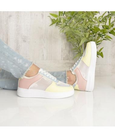 Pantofi Sport De Dama Paty Alb Cu Galben - Trendmall.ro