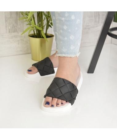 Papuci De Dama Sonia Alb Cu Negru - Trendmall.ro