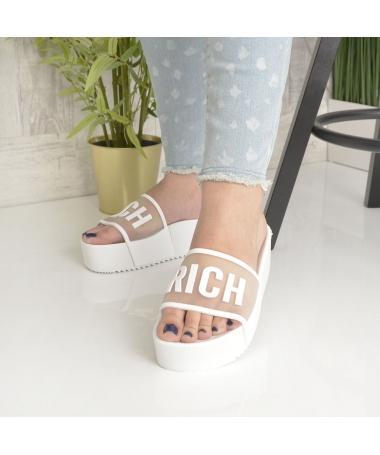 Papuci De Dama Rich Albi - Trendmall.ro