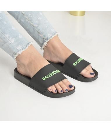 Papuci De Dama Cori Negru Cu Verde - Trendmall.ro