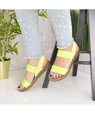 Sandale De Dama Sore Galbene Flurescent - Trendmall.ro