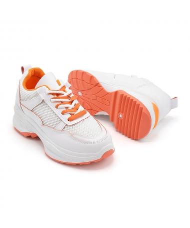 Pantofi Sport De Dama 23-53 Alb Cu Portocaliu - Trendmall.ro